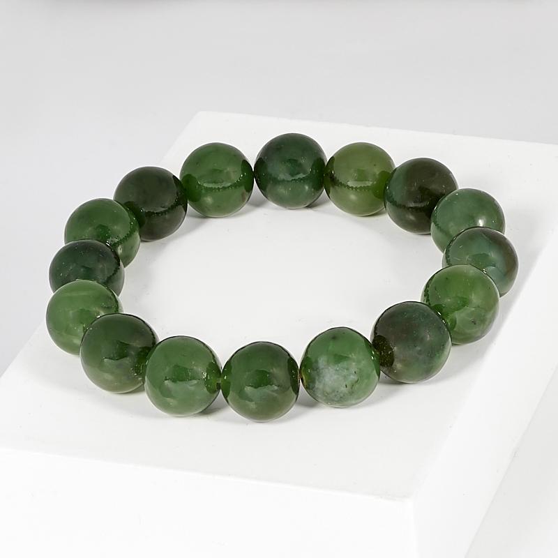 Браслет нефрит зеленый 11 мм 16 см