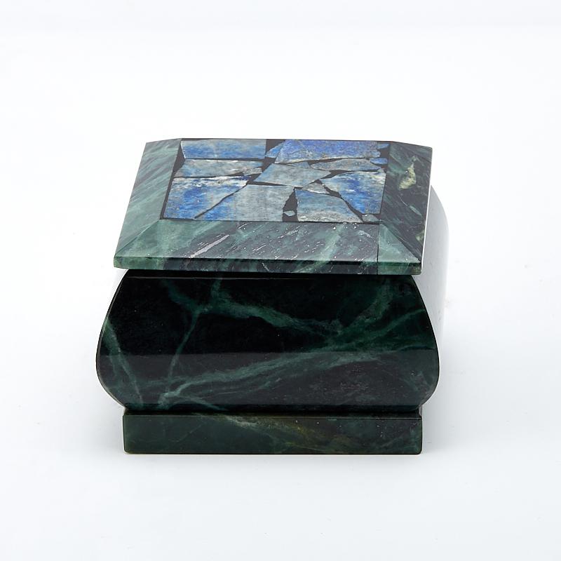 Шкатулка змеевик, лазурит 7,5х7,5х5,5 см