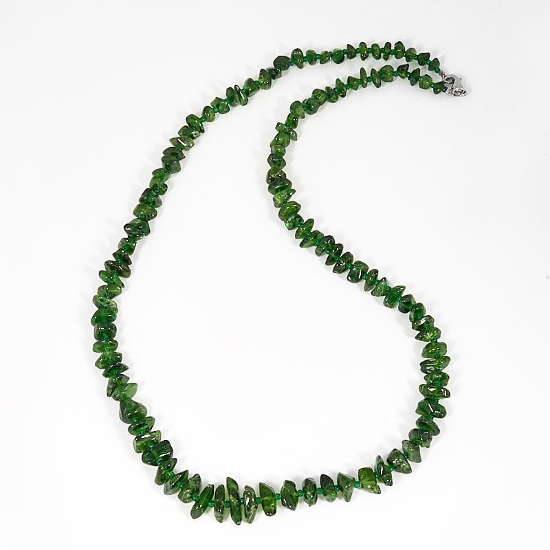 Бусы хромдиопсид 58 см (биж. сплав) серьги хромдиопсид