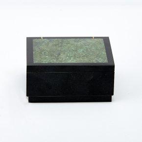 Шкатулка долерит, жадеит Россия 7х7х3,5 см