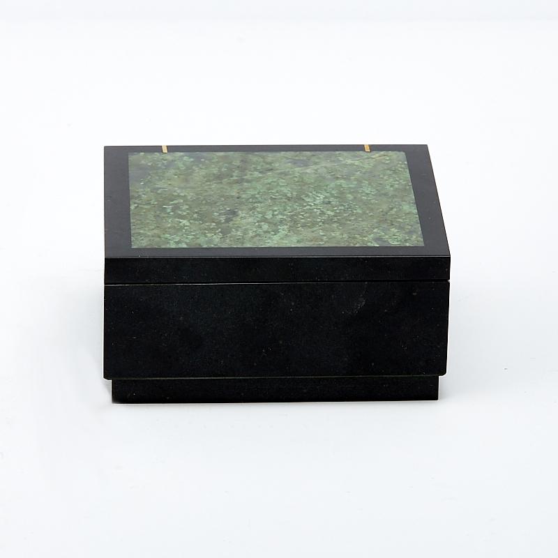 Шкатулка долерит, жадеит 7х7х3,5 см