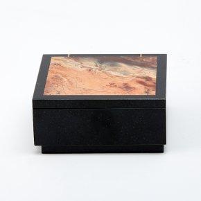 Шкатулка долерит, яшма Россия 7х7х3,5 см