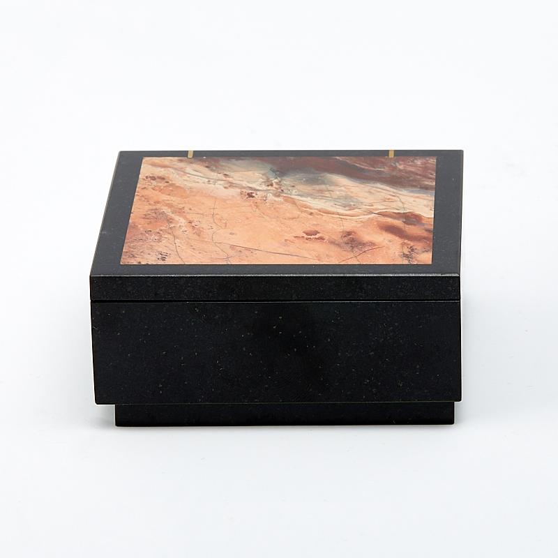 Шкатулка долерит, яшма уральская 7х7х3,5 см
