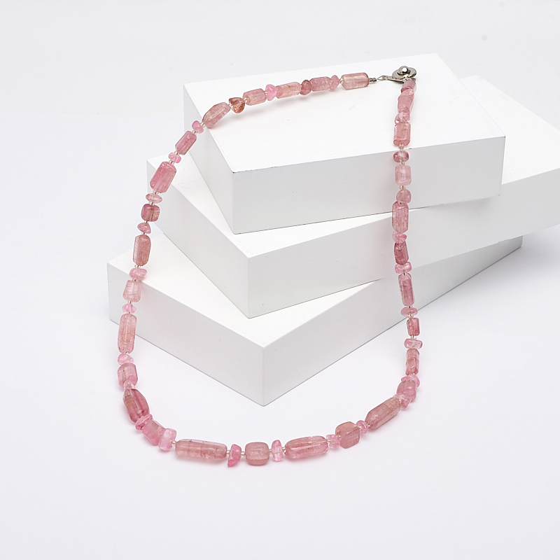 Бусы турмалин розовый (рубеллит) 47 см (биж. сплав) цены