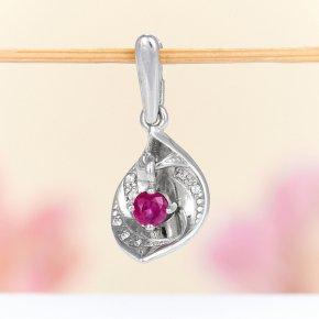 Кулон рубин Мьянма огранка (серебро 925 пр.)