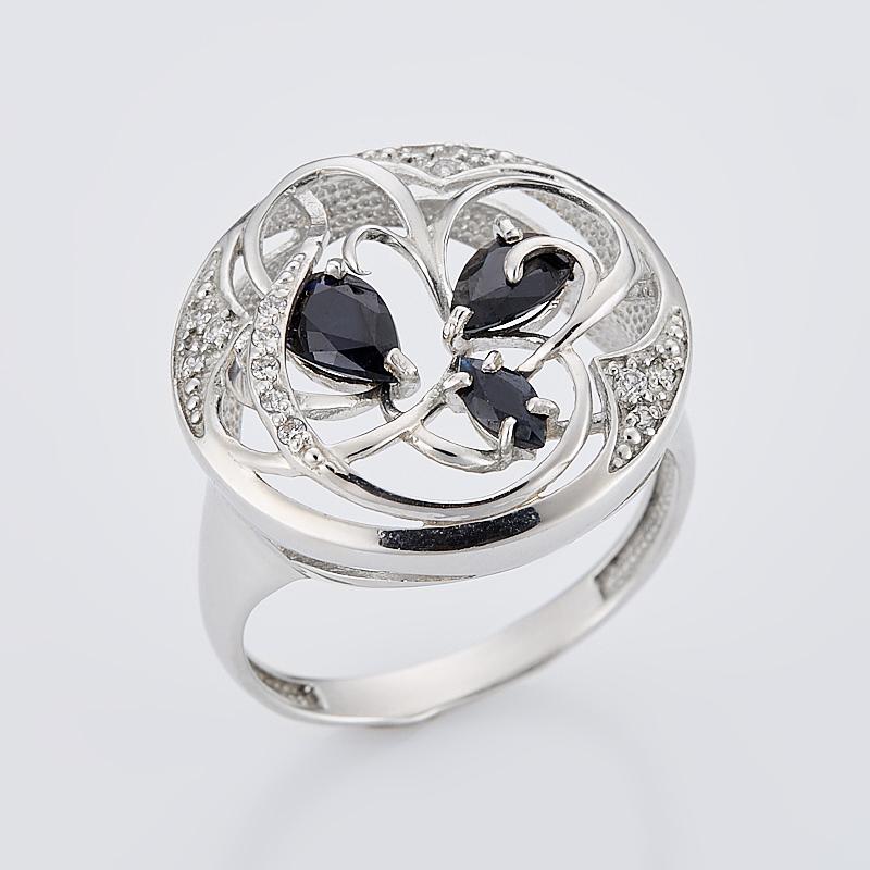 Кольцо сапфир черный огранка (серебро 925 пр.) размер 17,5