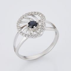 Кольцо сапфир черный Индия огранка (серебро 925 пр.) размер 17,5