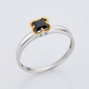 Кольцо сапфир черный Индия огранка (серебро 925 пр., позолота) размер 18,5