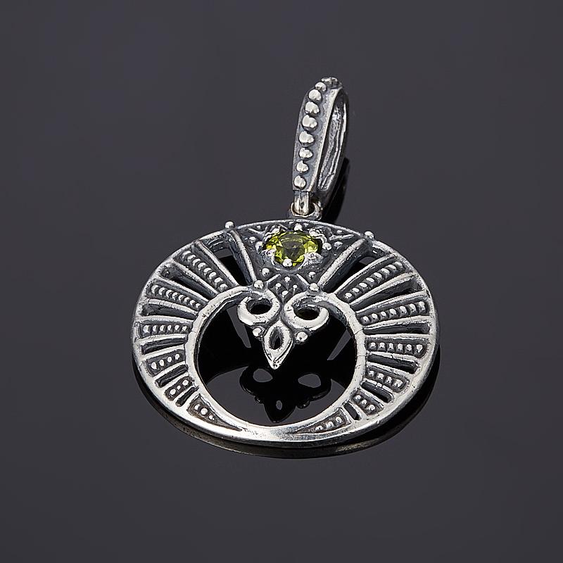 Кулон хризолит огранка (серебро 925 пр., позолота) 1013 грубый