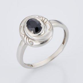 Кольцо сапфир черный Индия огранка (серебро 925 пр.) размер 17