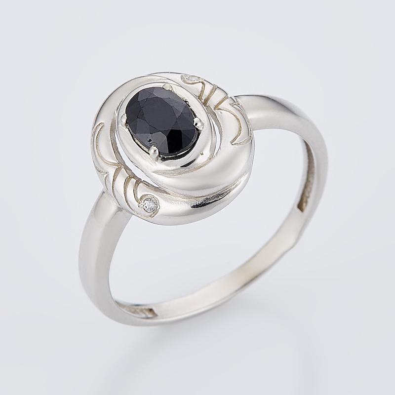 Кольцо сапфир черный огранка (серебро 925 пр.) размер 17