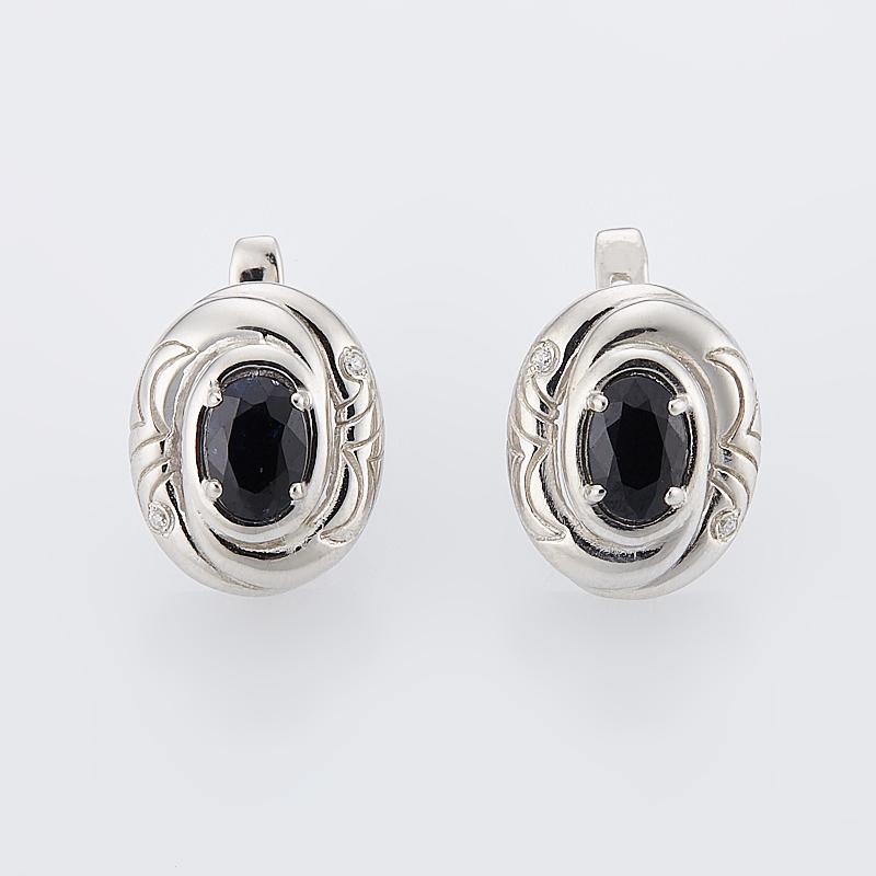 Серьги сапфир черный  огранка (серебро 925 пр.)
