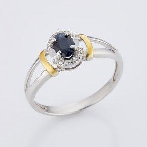Кольцо сапфир черный Индия огранка (серебро 925 пр., позолота) размер 17,5