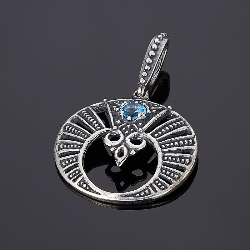 Кулон топаз голубой  огранка (серебро 925 пр., позолота)