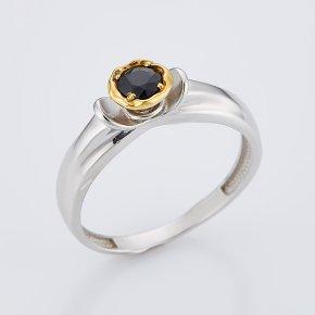 Кольцо сапфир черный Индия огранка (серебро 925 пр., позолота) размер 18