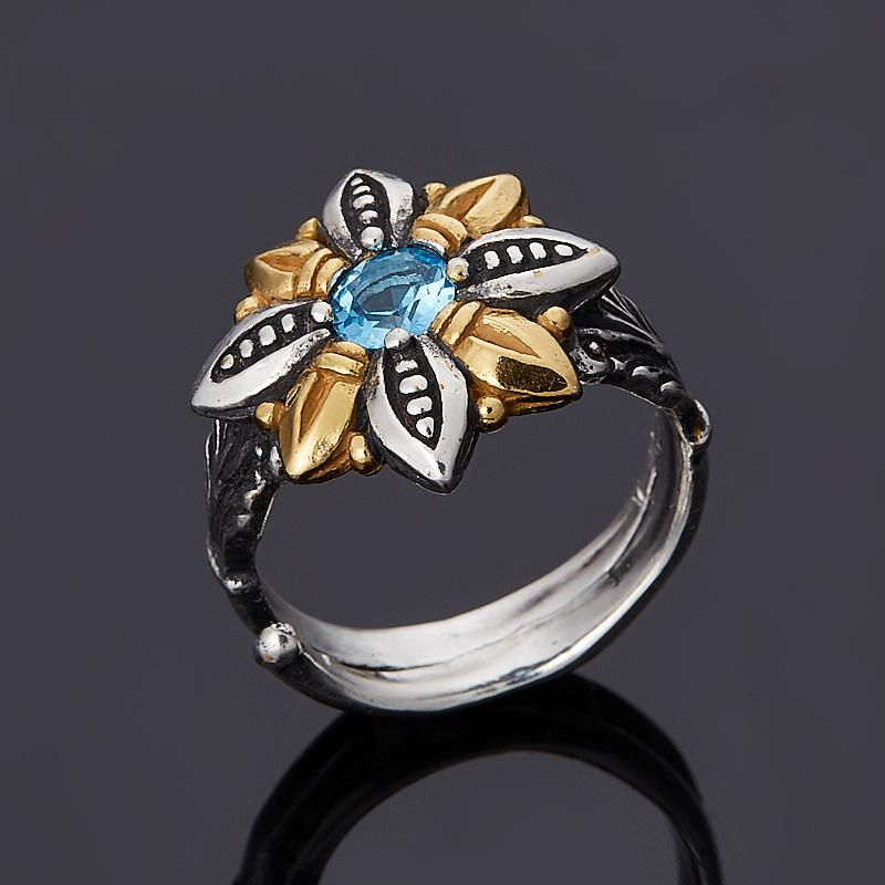 Кольцо топаз голубой огранка (серебро 925 пр., позолота) размер регулируемый кольцо топаз голубой огранка серебро 925 пр позолота размер 17