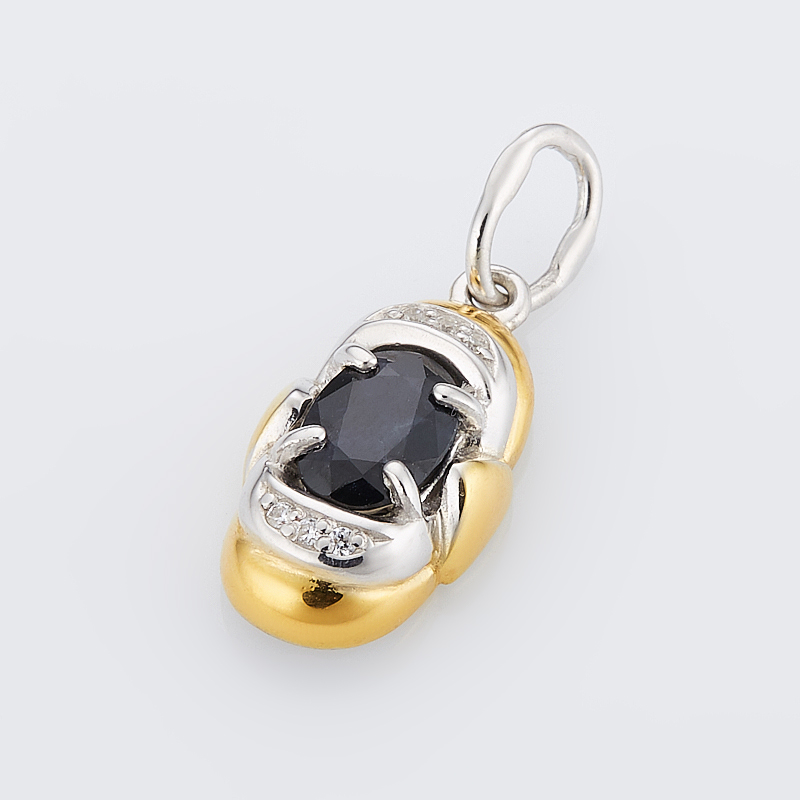 Кулон сапфир черный  огранка (серебро 925 пр., позолота)