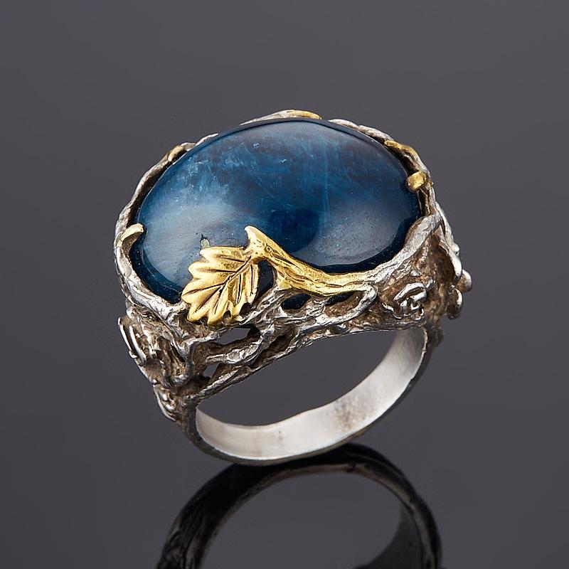 Кольцо апатит синий Бразилия (серебро 925 пр., позолота) размер 18