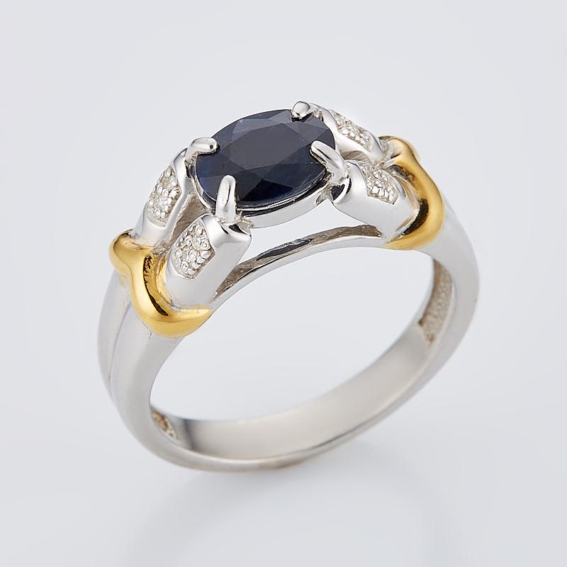 Кольцо сапфир черный огранка (серебро 925 пр., позолота) размер 18