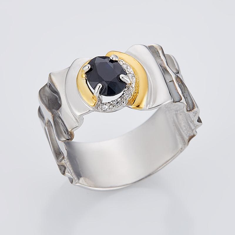 Кольцо сапфир черный огранка (серебро 925 пр., позолота) размер 18 кольцо сапфир черный огранка серебро 925 пр размер 18