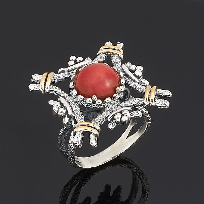 Кольцо коралл красный (серебро 925 пр., позолота) размер 18,5