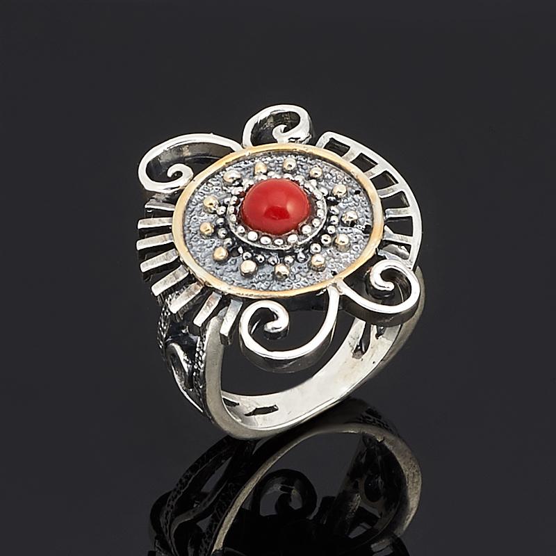 Кольцо коралл красный (серебро 925 пр., позолота) размер 17,5
