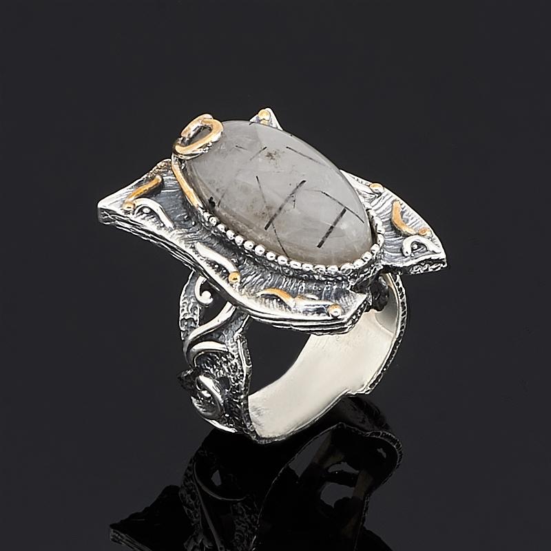 Кольцо кварц  (серебро 925 пр., позолота) размер 18,5