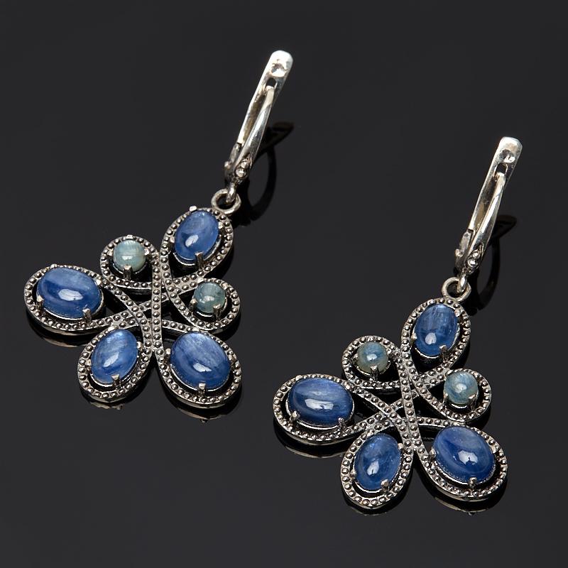 Серьги кианит синий (серебро 925 пр.) жен крупногабаритные серьги слезки серьги кольца крупногабаритные массивный белый темно синий светло синий квадратный