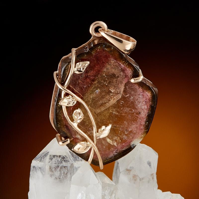 Кулон турмалин арбузный  (золото 585 пр.)