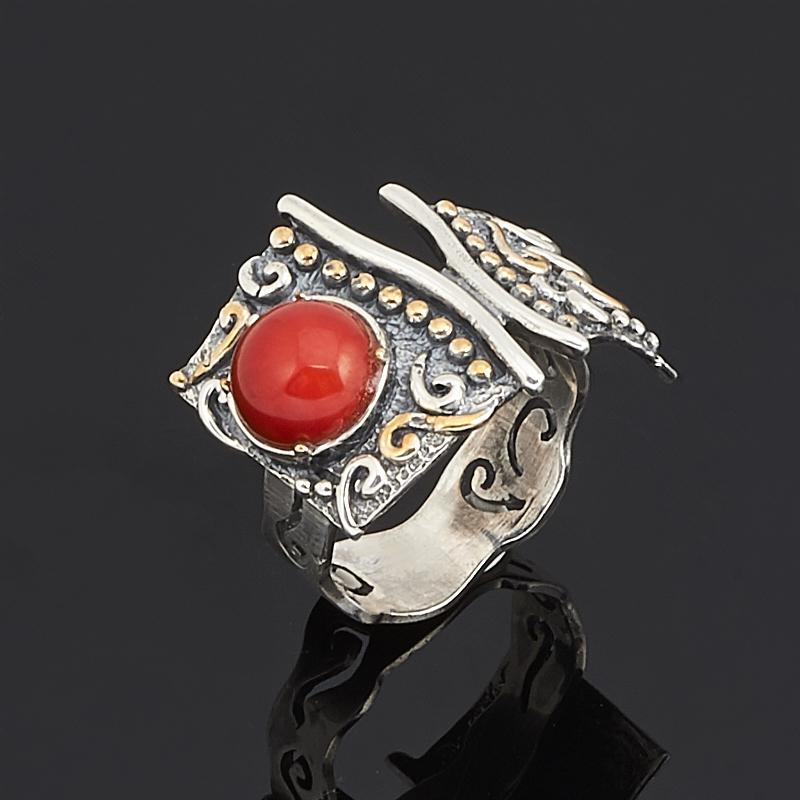 цена на Кольцо коралл красный (серебро 925 пр.) размер 17