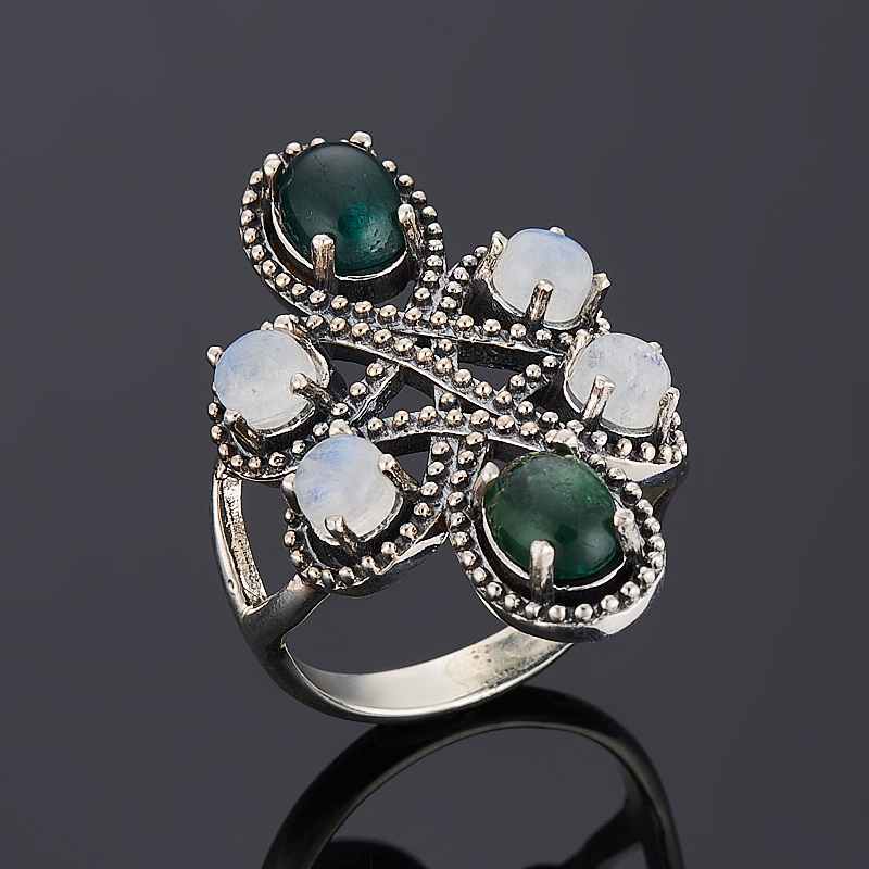 Кольцо лунный камень, турмалин (серебро 925 пр.) размер 17 кольцо лунный камень серебро 925 пр размер 17 5