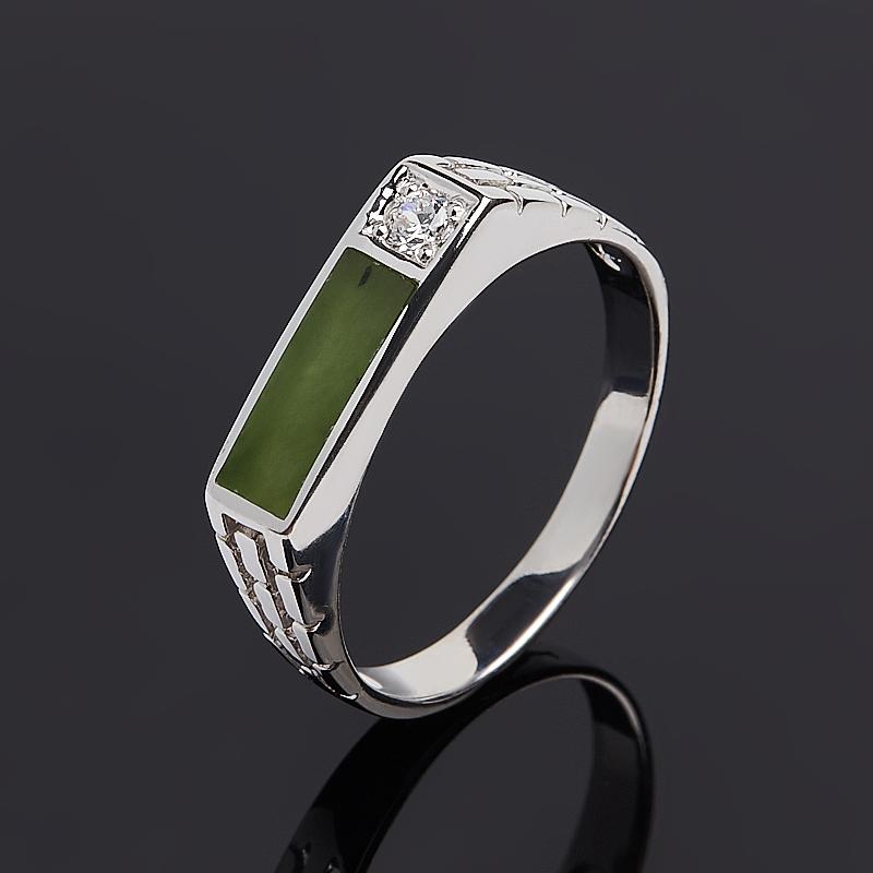 Кольцо нефрит зеленый Россия (серебро 925 пр.) размер 20,5