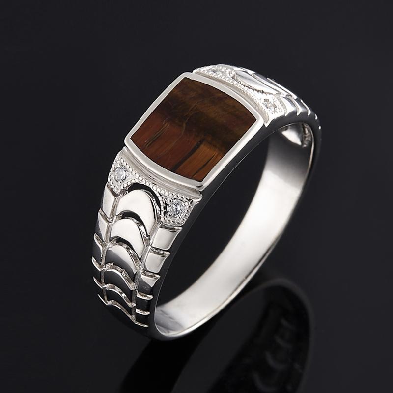 Кольцо тигровый глаз (серебро 925 пр.) размер 22 кольца колечки кольцо лаватера тигровый глаз