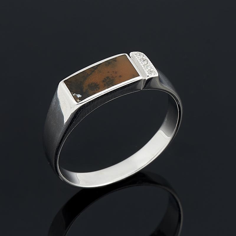 Кольцо агат пейзажный (серебро 925 пр.) размер 20 серьги агат серый серебро 925 пр