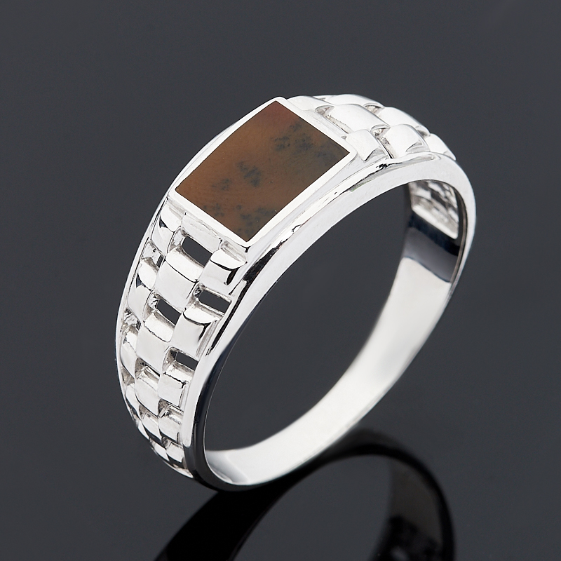 Кольцо агат пейзажный (серебро 925 пр.) размер 21