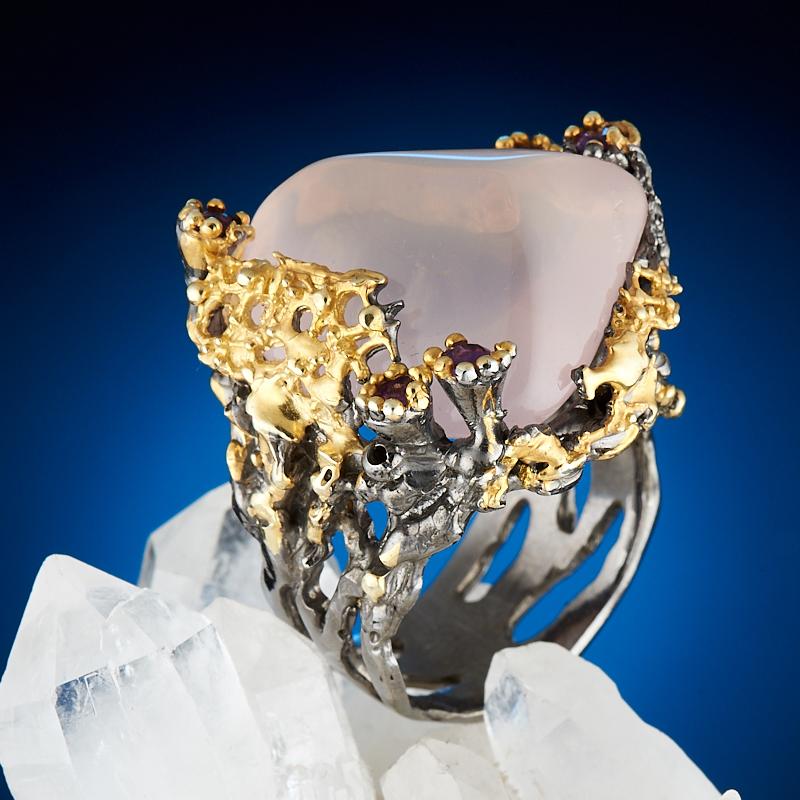 Кольцо розовый кварц (серебро 925 пр., позолота) размер 18,5 бусики колечки кольцо лаватера розовый кварц арт ск 4986
