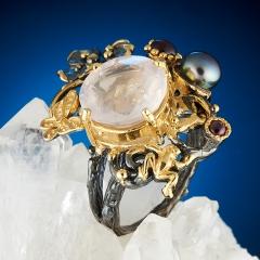 Кольцо розовый кварц Бразилия огранка (серебро 925 пр., позолота) размер 17,5