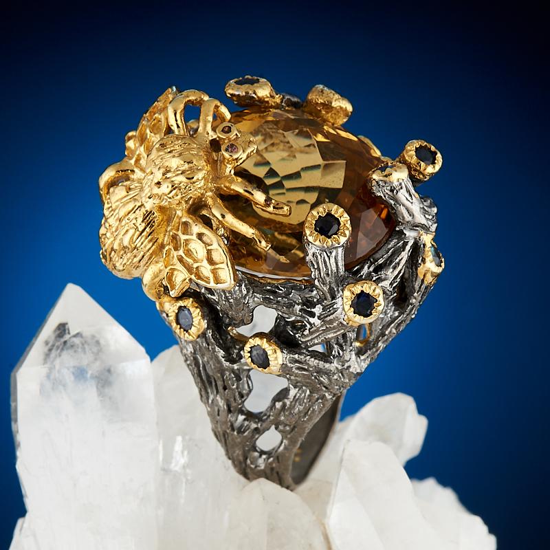 Кольцо цитрин  огранка (серебро 925 пр., позолота) размер 17,5