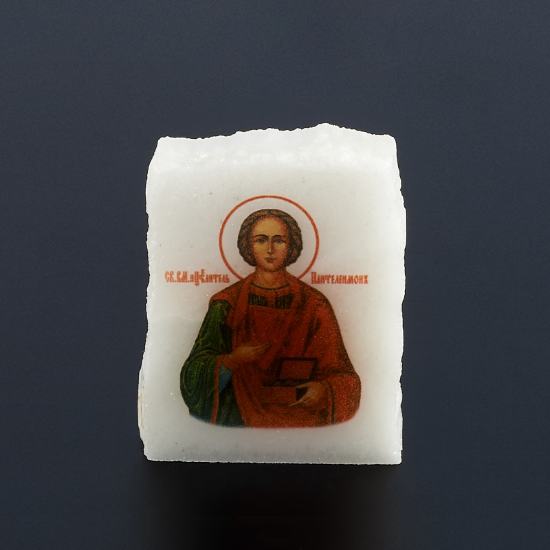 Срез с изображением Пантелеймон Целитель селенит  4х4,5 см