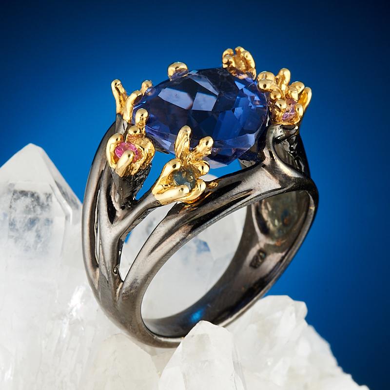 Кольцо флюорит синий огранка (серебро 925 пр., позолота) размер 17,5
