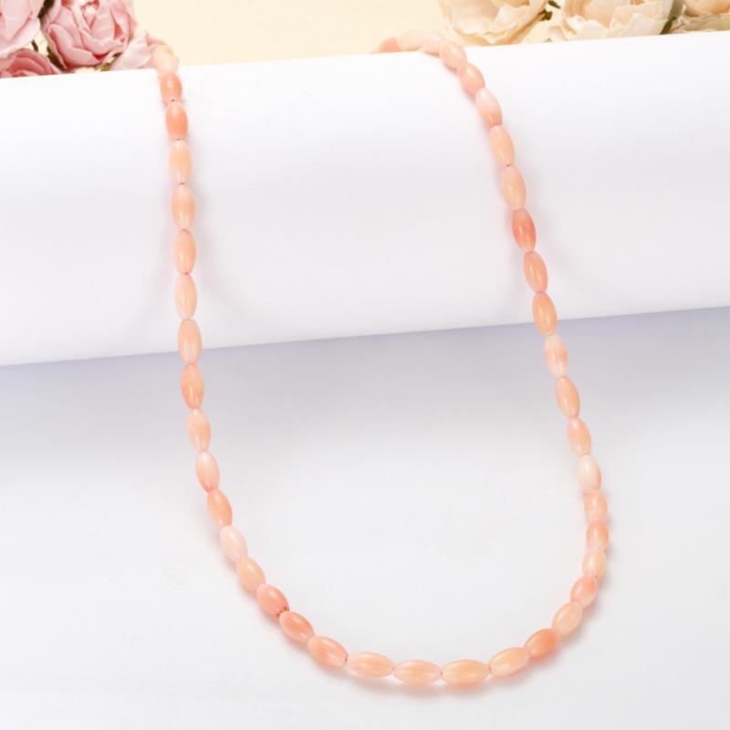 Бусы коралл розовый  49-55 см (биж. сплав)