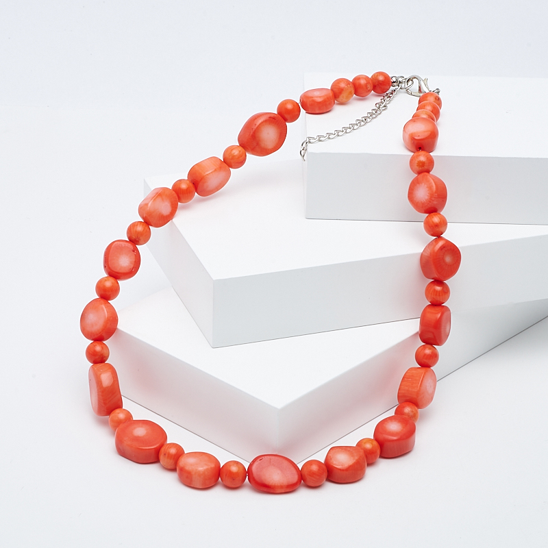 Бусы коралл оранжевый 46-52 см (биж. сплав)