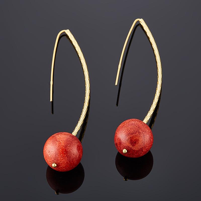 Фото - Серьги коралл красный (серебро 925 пр., позолота) кольцо коралл красный серебро 925 пр позолота размер 20