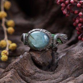 Кольцо лабрадор Мадагаскар (полимерная глина) регулируемый размер