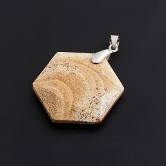 Кулон яшма рисунчатая Намибия огранка (биж. сплав) 4,5 см