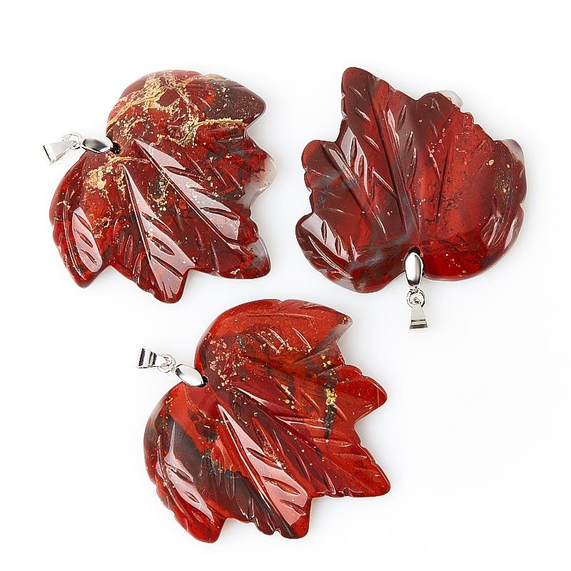 Кулон яшма красная лист 5-5,5 см свинка яшма красная 5 см