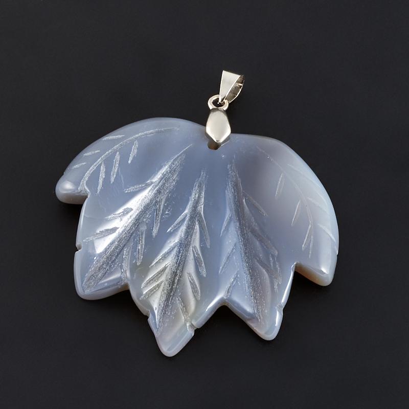 Кулон агат серый  лист (биж. сплав) 5,5 см
