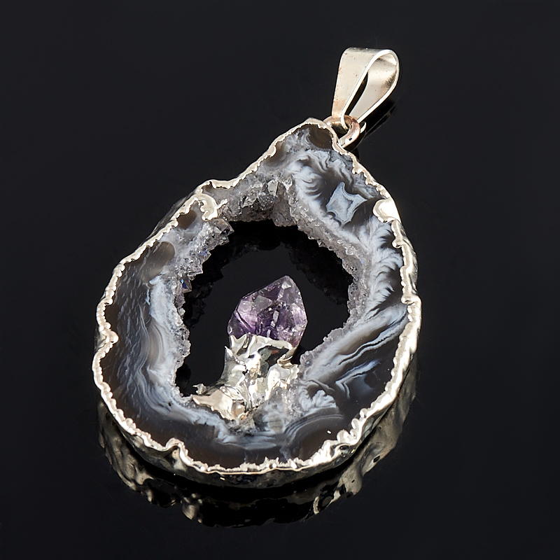 Кулон-жеода агат с кристаллом аметиста  4-6 см