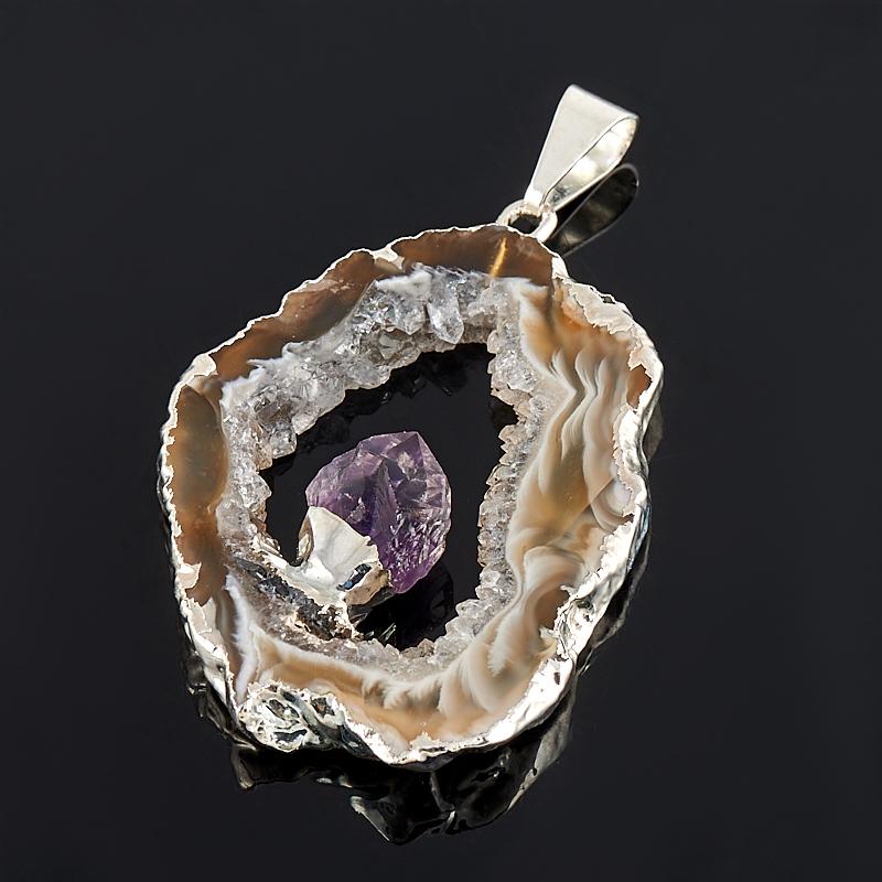 Кулон-жеода агат с кристаллом аметиста  4-6 см (биж. сплав)