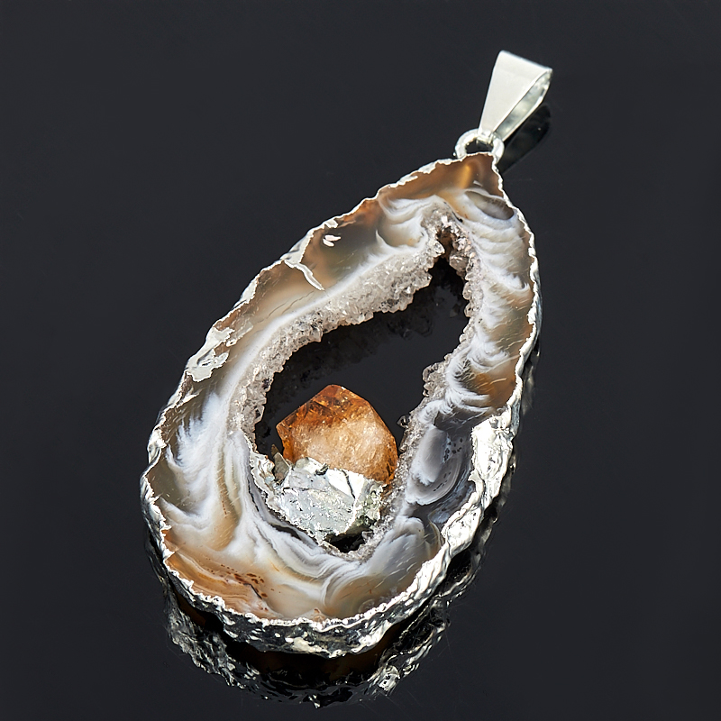 Кулон-жеода агат с кристаллом цитрина  4-6 см (биж. сплав)